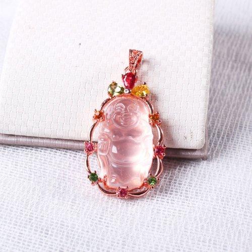 晶隆福 天然冰粉吊坠 带来爱情 晶体玲珑通透 款式时尚 增加魅力-图片