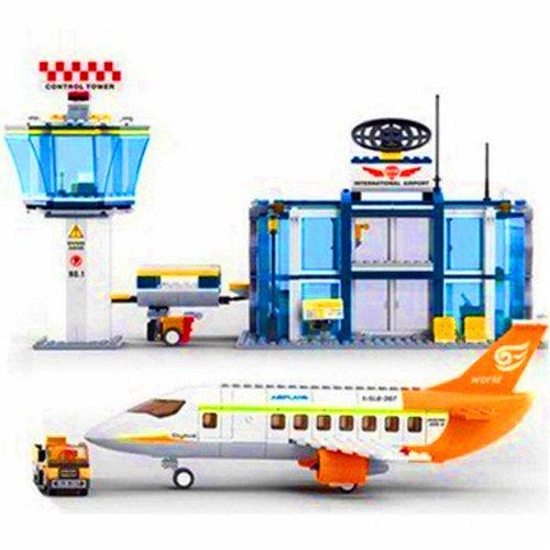 小鲁班 乐高式拼装积木 城市飞机系列大客机场运输车 m38-b0367图片