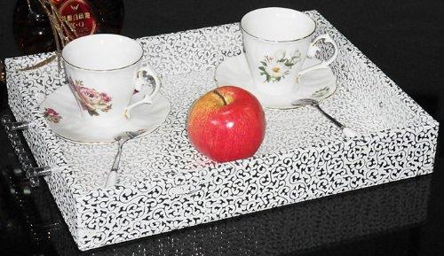 欧式经典简约时尚高档皮革时尚金银花茶盘 带手柄 长方形果盘皮质创意