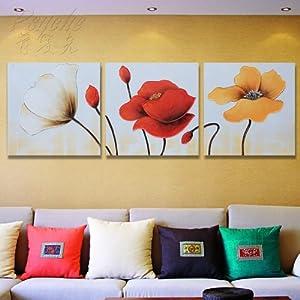 普赛克 100%纯手绘油画装饰画别墅沙发背景墙三联定制