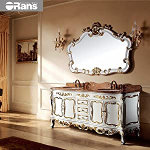 欧式浴室柜组合橡木大理石台面仿古柜