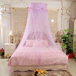 禧多屋 超小装夏季蚊帐 圆顶公主蚊帐 蕾丝花边吊顶床