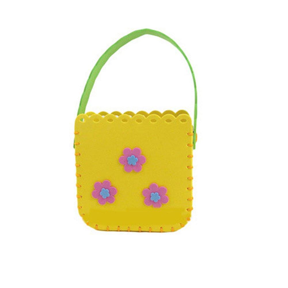 幼儿园手工缝制立体贴画益智手工卡通图案可爱包包 黄色(方形)116003