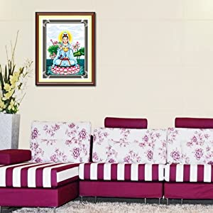 华庭丽娜 印花十字绣 观音盛世 精准印花不偏格 100 印布高清图片