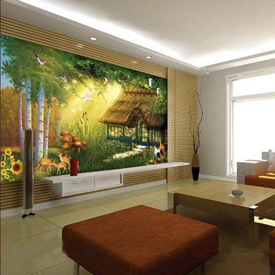 欧式简修风格|油画房子葵花电视沙发背景墙|客厅大型