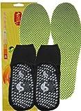 百益行 远红外自发热(两件套托玛琳)自发热鞋垫 1双 +  蒙迈 托玛琳热灸袜(均码 黑色)2双 保健 保暖 吸汗 防霉 除臭 抑菌 养脚 安全 保持足底健康舒适的环境 使您倍感温暖 是21世纪足部保暖之最佳选择 (鞋垫41号 绿色 + 袜子 均码 黑色)-图片