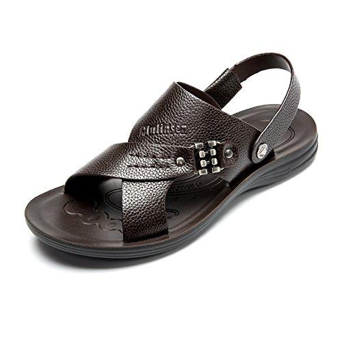 MULINSEN 木林森男凉鞋 夏季新款日常休闲男鞋男士真皮凉鞋透气耐磨沙滩鞋