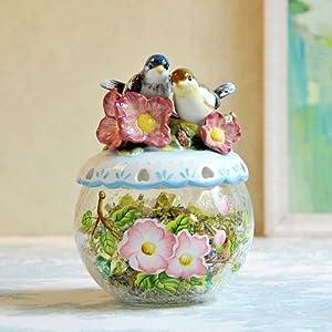 方亚陶瓷 爱情鸟玻璃糖果罐 手绘陶瓷新婚乔迁摆件 储物罐干果罐