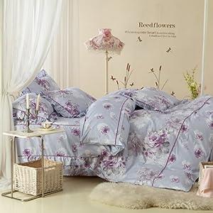 帝尚 韩版床罩式全棉四件套(1.5米款床罩) 欧式风 怡情-紫