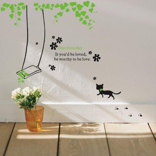 秋千小猫 环保彩色可移除客厅卧室沙发电视背景墙宜家装饰画