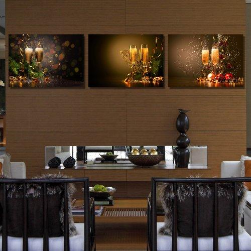 创美馨 鲜花高脚酒杯餐具 墙壁画 餐厅厨房装饰画 酒店酒吧 现代 简约