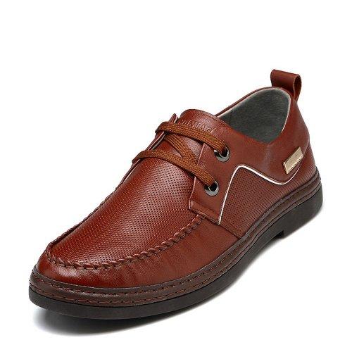 FGN 富贵鸟 秋冬新款男士透气真皮板鞋皮鞋 时尚休闲圆头男鞋 S489737 红棕色