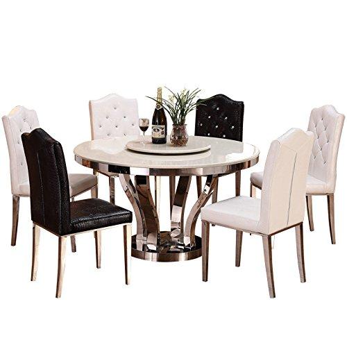 商品全程人生 大理石餐桌椅组合 简约欧式不锈钢圆桌带转盘小户型饭台