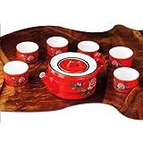 Snowwolf 雪狼 中国红瓷茶具 陶瓷 复古高贵 商务礼品礼物 礼盒 HY-图片