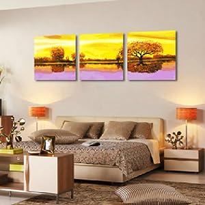 自油自画 数字油画diy 特价手绘客厅三联三拼风景装饰壁画 紫气秋来