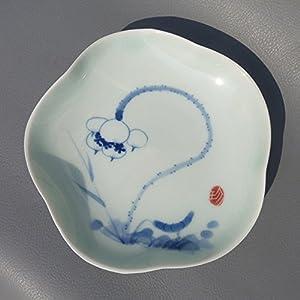 促销御豪景德镇瓷青花手绘荷花小瓷盘釉下彩盘子居家艺术摆件