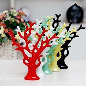 手信 陶瓷装饰品摆件 现代田园风 抽象工艺品发财树