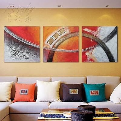 普赛克 100%纯手绘油画装饰画欧式抽象组合艺术画沙发