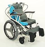 日本河村 AY18-45 爱之勇气一车三用轮椅 (坐宽45, 碳灰蓝)-图片