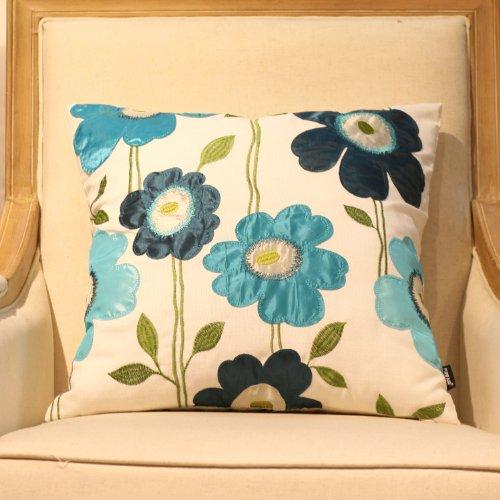 回至 乡村田园 3d立体花朵图案手工刺绣贴布抱枕靠垫 沙发创意靠枕 c