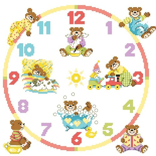 万众家园 十字绣 客厅动物卡通画 儿童房 熊熊的钟表 14ct dmc线 2股
