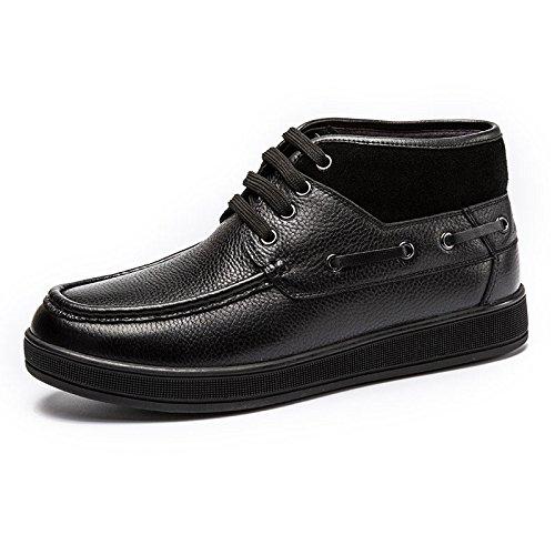 MULINSEN 木林森 男鞋男士加绒棉鞋高帮休闲皮鞋系带短靴子男