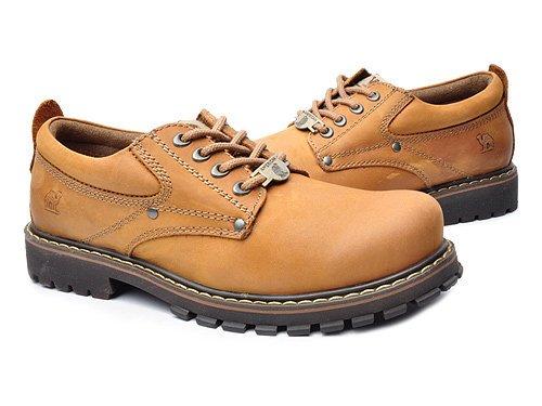 Camel 骆驼 休闲牛皮低帮工装鞋 男 男休闲鞋 A2350002 土黄 brown