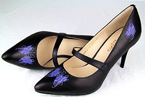 moon idea 美恩琪 物之语系列 蓝蝶 02款 高级定制 真皮 女式高跟鞋