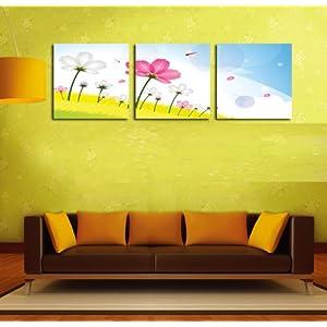 美时美刻 田园风格蜻蜓花卉壁画客厅装饰画幼儿园墙壁挂画学校无框画