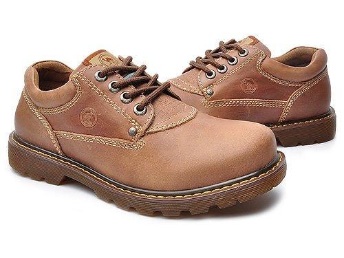 Camel 骆驼 舒适休闲牛皮系带大头低帮防滑耐磨工装鞋 男 男休闲鞋 11107141 棕色 brown