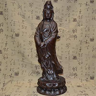 黑檀木雕观音佛像摆件持珠站莲花座观音菩萨雕像红木家居手工艺品 (高