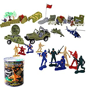 军事模型玩具 陆空做战部 二战士兵场景模型 30件套(士兵 飞机 坦克