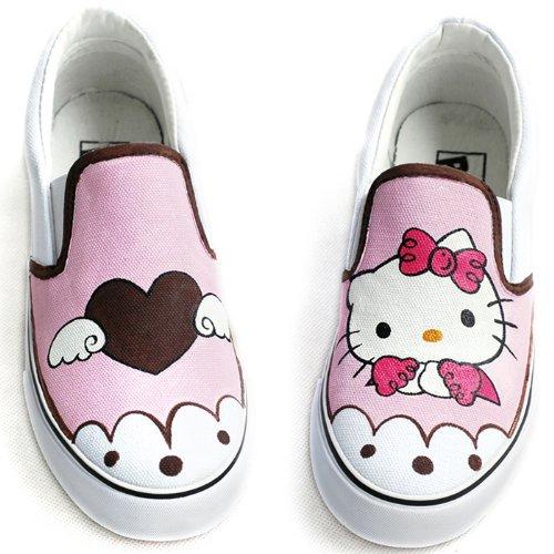 卜丁 公主女鞋 涂鸦手绘鞋 个性帆布鞋 粉色卡通学生鞋 舒适懒人鞋