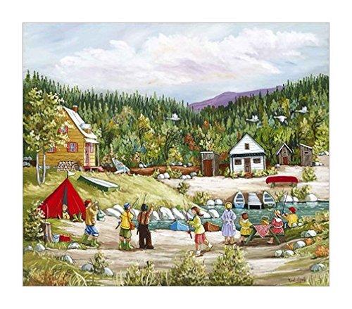 家庭装饰画 露营 独木舟 湖泊装饰画 海滩景色装饰画 海滩风景装饰画