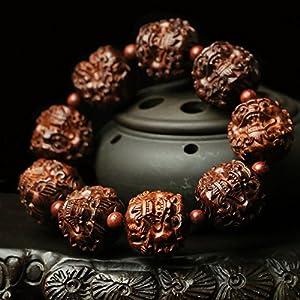 千年岁月 老料印度手工雕刻小叶紫檀手串 招财貔貅 佛珠手链25mm 霸气