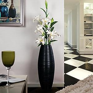 景苑 欧式创意螺纹陶瓷落地大花瓶 现代简约客厅新房装饰花器摆件