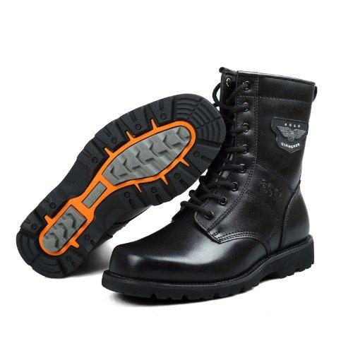 强人 3515新款男靴真皮皮靴中筒靴子耐磨防滑厚底马丁靴专柜正品