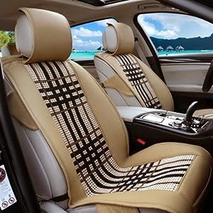 海尚汽车坐垫四季新款 汽车夏季座垫四季通用 皮革冰丝 车垫套14-11驼