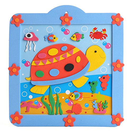 孩派eva儿童贴画手工制作方形圆形相框贴画材料包 12款小相框 (04乌龟
