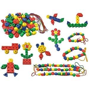 彩色积木 启蒙早教益智玩具 大颗粒 大小串珠 几何形状 可拼装 堆塔
