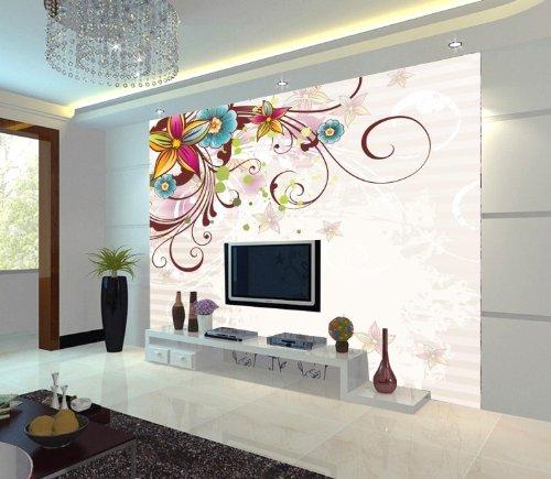 塞拉维 现代简约装修风格墙纸 欧式花卉花纹壁纸 卧室客厅影视墙大型图片