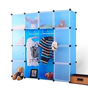 南辰简易衣柜 四层四列十格十门 成人衣橱 组合书柜 收纳柜NC-YG-017 (蓝色白门)