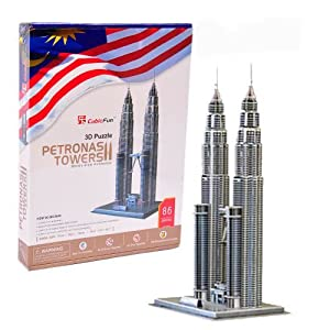 世界著名建筑 3d纸模立体拼图 吉隆坡双星塔 五星难度(挑战) mc084h