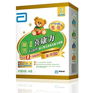 Abbott 雅培 金装 喜康力盒装智护奶粉400g 2段(6-18个月) 77元(参加满减后 低到65.6元/盒)