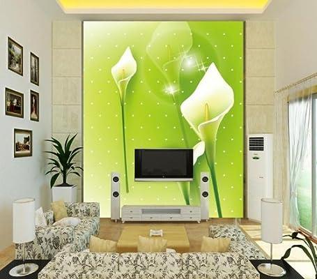 塞拉维 大型壁画 绿色田园风格 电视背景墙壁纸 餐厅玄关墙纸马蹄莲