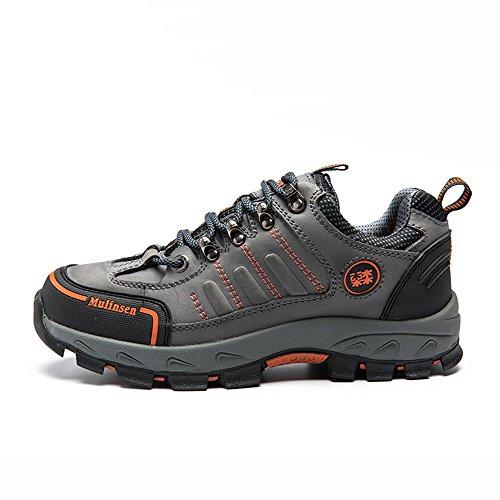 木林森 徒步登山鞋 真牛皮户外鞋防滑系带运动鞋
