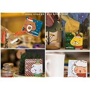 墨然 可爱小动物圣诞小卡片 信封 s165圣诞节小贺卡韩国文具 (5枚入)