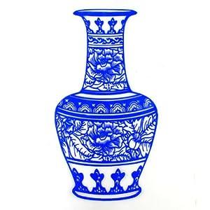 剪纸青花瓷瓶