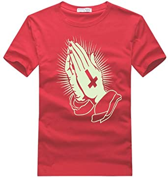 rocktang 摇滚唐朝 2013新品短袖t恤 上帝祈祷之手夜光t恤 年会演出