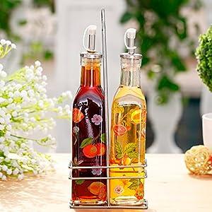 欧式2只套装玻璃烤花油瓶